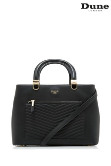 Dune London Black Plain Synthetic Quilted Boxxy Tote Bag