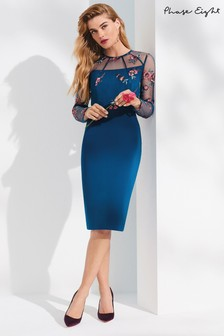 Phase Eight Peacock Felice Embroidered Dress