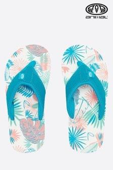 נעלי אצבע לבנות עם הדפס Swish בורוד של Animal