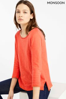 Monsoon Pink Saffi Slub Trim Jumper