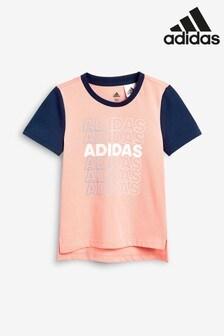 adidas Little Kids Pink Chest Logo T-Shirt