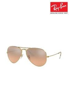 Ray-Ban® Gold Large Aviator Sunglasses