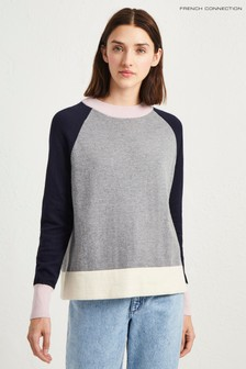 French Connection Grey/Blue/Pink Colourblock Jumper