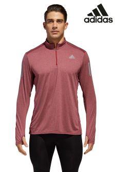 adidas Maroon Response Long Sleeve Zip Jacket