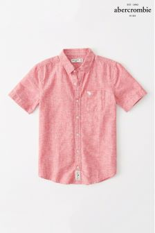 Abercrombie & Fitch Red Short Sleeve Shirt