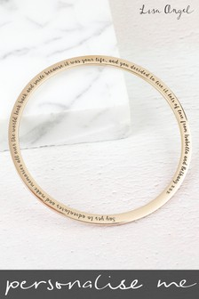 Personalised Engraved Rose Gold Bangle by Lisa Angel