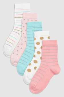 Sparkle Spot Stripe Socks Five Pack (Older)