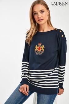 Lauren Ralph Lauren® Navy Stripe Crest Logo Jumper