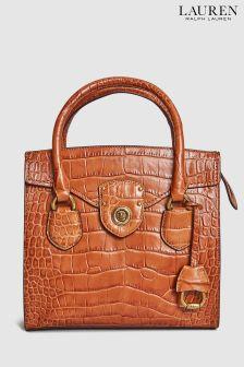 Lauren Ralph Lauren® Tan Croc Tote Bag