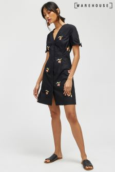 Warehouse Black Tropical Bunch Embroidered Dress