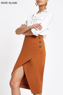 River Island Copper Wrap Button Detail Pencil Skirt