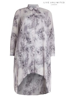Live Unlimited Grey Hanky Hem Marble Print Shirt Dress
