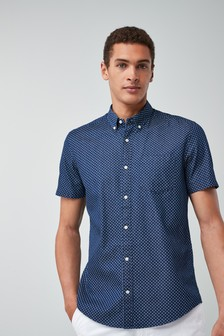 Short Sleeve Indigo Cross Print Shirt