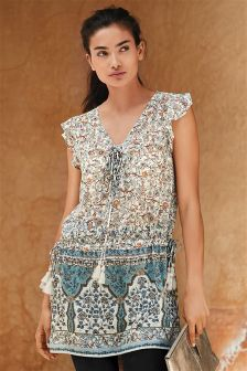 Print Embellished Tunic