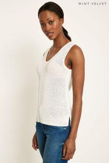 Mint Velvet White Corded Tape Sleeveless Knit Cardigan