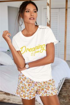 Cotton Blend Slogan Short Set