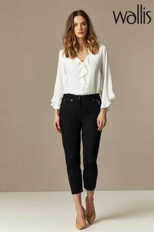Wallis Black Cotton Crop Trousers