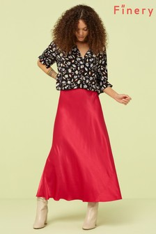 Finery London Pink Fuchsia Alberte Satin Midi Skirt