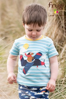 Frugi Organic Blue Breton T-Shirt With Aeroplane Appliqué