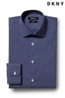 DKNY Slim Fit Navy Single Cuff Stretch Texture Shirt