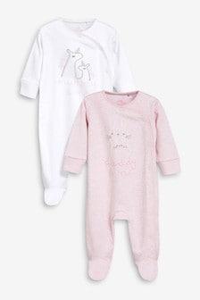 מארז שתי חליפות פיג'מה עם דמות אמא ואבא (0 חודשים-2 שנים)
