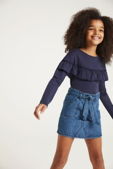F&F Denim Tie Belt Skirt