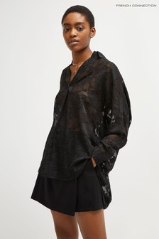 French Connection Black Clarita Coupe Pop Over Shirt