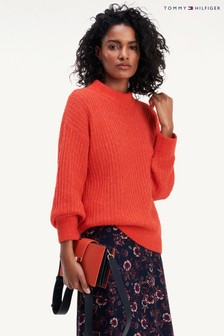 Tommy Hilfiger Orange Textured Stitch Mock Neck Sweater