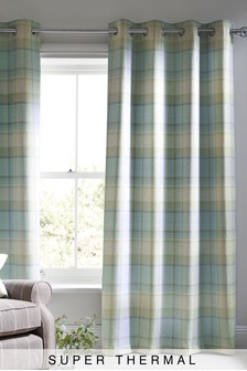 Marlow Woven Check Eyelet Super Thermal Curtains