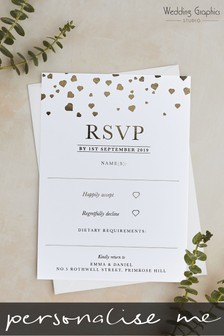 Personalised Confetti Foil RSVP Card by Wedding Graphics