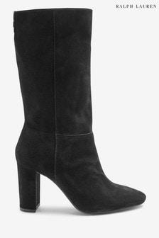 Ralph Lauren Black Suede Artizan Slouch Boots