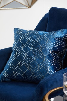 Metallic Velvet Geo Cushion