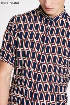 River Island Navy Geo Print Short Sleeve Shirt