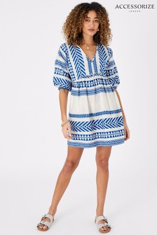 Accessorize Blue Jacquard Dress