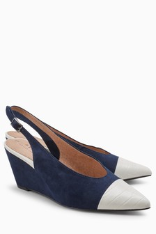 Toe Cap Slingback Wedges