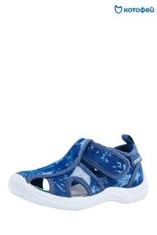 Синие сандалии с T-образным ремешком и звездочками Kotofey