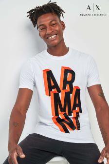 Armani Exchange White Graphic T-Shirt