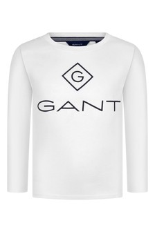 Boys White Cotton Long Sleeve T-Shirt