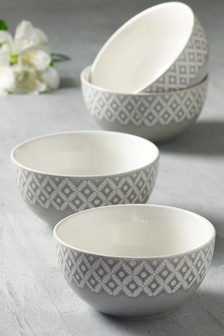 12 Piece Geo Embossed Bowl