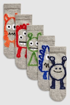 Lot de cinq paires de chaussettes pelucheuses motif monstres (Enfant)