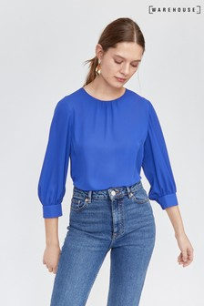 Warehouse Blue Bubble Sleeve Top