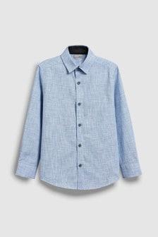 Элегантная фактурная рубашка с длинным рукавом (3-16 лет)