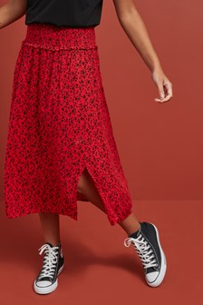 Smock Waist Midi Skirt