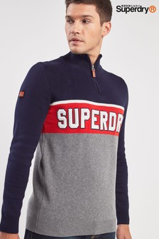 Superdry Navy Tri Colour Knitted Henley Jumper