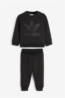 adidas Originals Infant Black Debossed Crew And Jogger Set