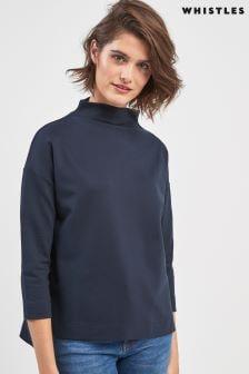 Whistles Pullover mit Stehkragen, marineblau