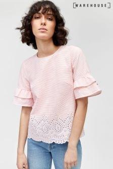 Warehouse Pink Stripe Stripe Broderie Hem Top