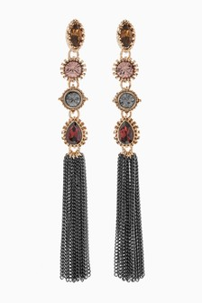 Stone Effect Tassel Drop Earrings