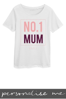 Personalised No. 1 Mum Printed T-Shirt