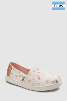 Toms White/Pink Spot Alpargata Slip-On Shoe
